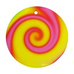 Swirl Yellow Pink Abstract Ornament (Round) Front