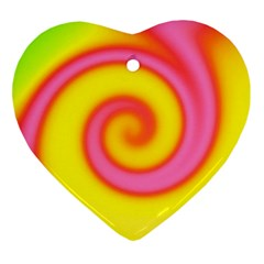 Swirl Yellow Pink Abstract Ornament (heart)