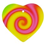 Swirl Yellow Pink Abstract Ornament (Heart) Front