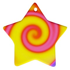 Swirl Yellow Pink Abstract Ornament (star) by BrightVibesDesign