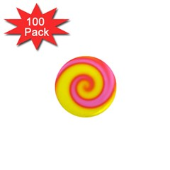 Swirl Yellow Pink Abstract 1  Mini Magnets (100 Pack)