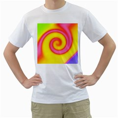 Swirl Yellow Pink Abstract Men s T Shirt (white) (two Sided)