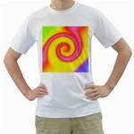 Swirl Yellow Pink Abstract Men s T-Shirt (White) (Two Sided) Front