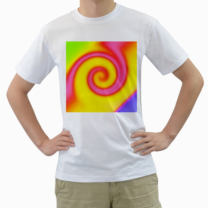 Swirl Yellow Pink Abstract Men s T-Shirt (White) (Two Sided)
