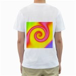 Swirl Yellow Pink Abstract Men s T-Shirt (White) (Two Sided) Back