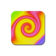 Swirl Yellow Pink Abstract Rubber Square Coaster (4 Pack)  by BrightVibesDesign