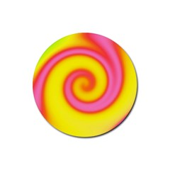 Swirl Yellow Pink Abstract Rubber Round Coaster (4 Pack)  by BrightVibesDesign