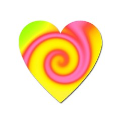 Swirl Yellow Pink Abstract Heart Magnet by BrightVibesDesign