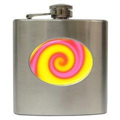 Swirl Yellow Pink Abstract Hip Flask (6 Oz) by BrightVibesDesign