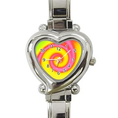 Swirl Yellow Pink Abstract Heart Italian Charm Watch by BrightVibesDesign