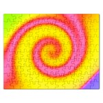 Swirl Yellow Pink Abstract Rectangular Jigsaw Puzzl Front