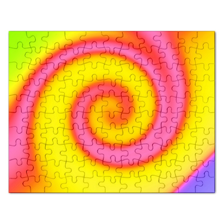 Swirl Yellow Pink Abstract Rectangular Jigsaw Puzzl