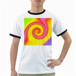 Swirl Yellow Pink Abstract Ringer T-Shirts Front