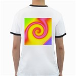 Swirl Yellow Pink Abstract Ringer T-Shirts Back