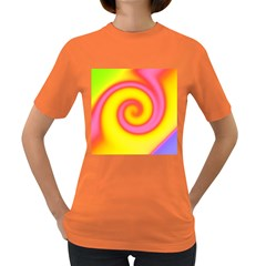 Swirl Yellow Pink Abstract Women s Dark T Shirt