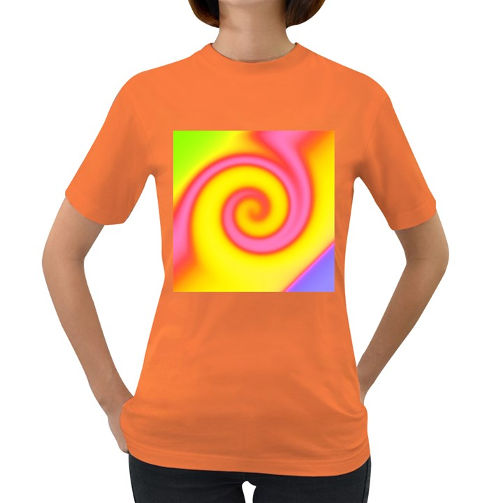Swirl Yellow Pink Abstract Women s Dark T-Shirt