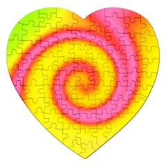 Swirl Yellow Pink Abstract Jigsaw Puzzle (heart) by BrightVibesDesign