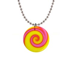 Swirl Yellow Pink Abstract Button Necklaces by BrightVibesDesign