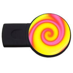 Swirl Yellow Pink Abstract Usb Flash Drive Round (4 Gb) by BrightVibesDesign