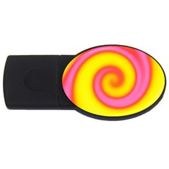Swirl Yellow Pink Abstract Usb Flash Drive Oval (4 Gb) by BrightVibesDesign