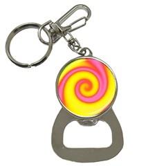 Swirl Yellow Pink Abstract Bottle Opener Key Chains by BrightVibesDesign