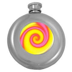Swirl Yellow Pink Abstract Round Hip Flask (5 Oz) by BrightVibesDesign