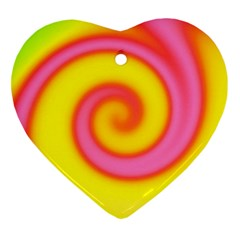 Swirl Yellow Pink Abstract Heart Ornament (two Sides) by BrightVibesDesign