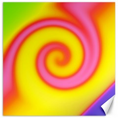 Swirl Yellow Pink Abstract Canvas 16  X 16   by BrightVibesDesign