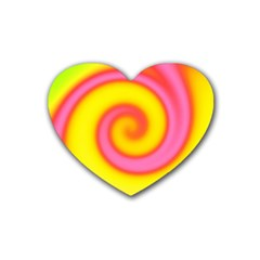 Swirl Yellow Pink Abstract Heart Coaster (4 Pack)  by BrightVibesDesign