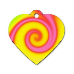 Swirl Yellow Pink Abstract Dog Tag Heart (one Side) by BrightVibesDesign