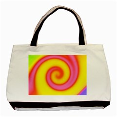 Swirl Yellow Pink Abstract Basic Tote Bag (two Sides)