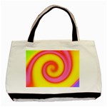 Swirl Yellow Pink Abstract Basic Tote Bag (Two Sides) Back