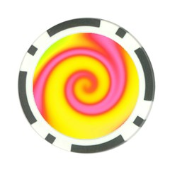 Swirl Yellow Pink Abstract Poker Chip Card Guard by BrightVibesDesign