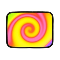 Swirl Yellow Pink Abstract Netbook Case (small)  by BrightVibesDesign
