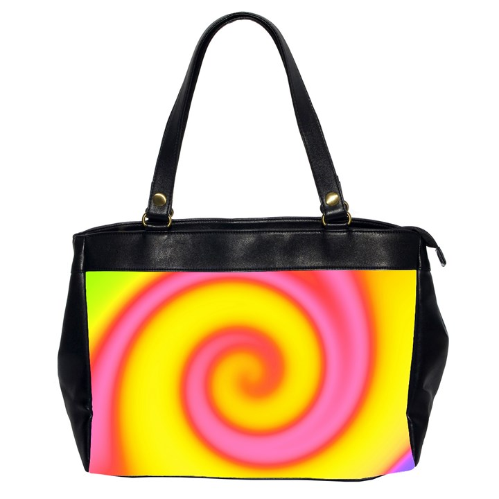 Swirl Yellow Pink Abstract Office Handbags (2 Sides)