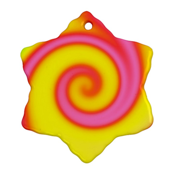 Swirl Yellow Pink Abstract Snowflake Ornament (Two Sides)