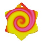 Swirl Yellow Pink Abstract Snowflake Ornament (Two Sides) Back