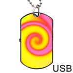 Swirl Yellow Pink Abstract Dog Tag USB Flash (One Side) Front