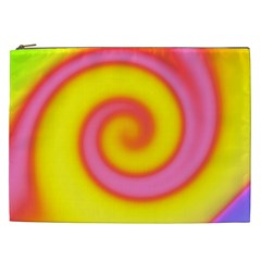 Swirl Yellow Pink Abstract Cosmetic Bag (xxl)  by BrightVibesDesign