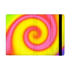 Swirl Yellow Pink Abstract Apple Ipad Mini Flip Case by BrightVibesDesign