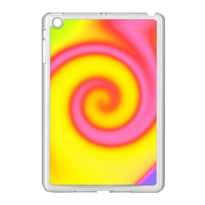 Swirl Yellow Pink Abstract Apple iPad Mini Case (White)