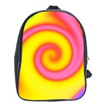 Swirl Yellow Pink Abstract School Bag (XL) Front