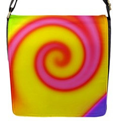Swirl Yellow Pink Abstract Flap Messenger Bag (s)