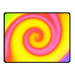 Swirl Yellow Pink Abstract Double Sided Fleece Blanket (small)