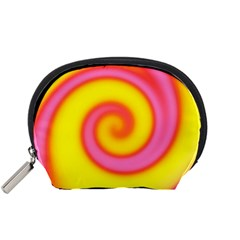 Swirl Yellow Pink Abstract Accessory Pouches (small)