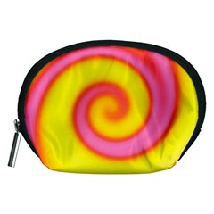 Swirl Yellow Pink Abstract Accessory Pouches (medium)