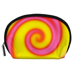 Swirl Yellow Pink Abstract Accessory Pouches (large)