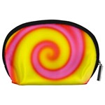 Swirl Yellow Pink Abstract Accessory Pouches (Large)  Back