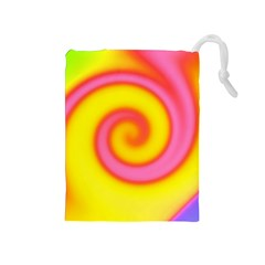 Swirl Yellow Pink Abstract Drawstring Pouches (medium)