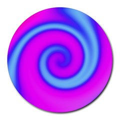 Swirl Pink Turquoise Abstract Round Mousepads by BrightVibesDesign